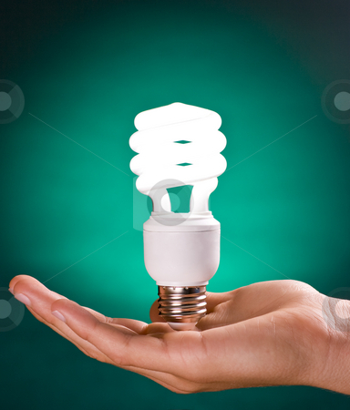 Compact Fluorescent Light Bulb in Hand stock photo, Compact Fluorescent Light Bulb in Hand on Green Background by Mike Dykstra