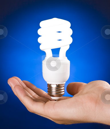 Compact Fluorescent Light Bulb in Hand stock photo, Compact Fluorescent Light Bulb in Hand on Blue Background by Mike Dykstra