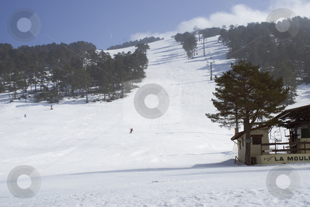 Skiing stock photo, Small ski resort amed 'La moliere