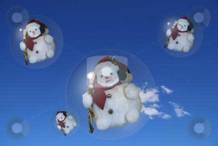Snowmen stock photo, Flying Snowmen annoucing the coming of the winter. Computer generated pic. by Serge VILLA
