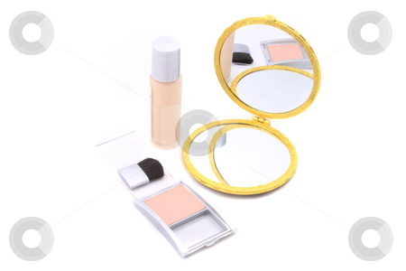 Makeup stock photo, Cosmetics supplies on white background by Jack Schiffer