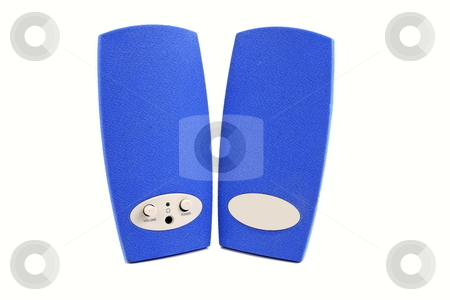 Computer Speakers stock photo, Pair of blue computer speakers by Jack Schiffer
