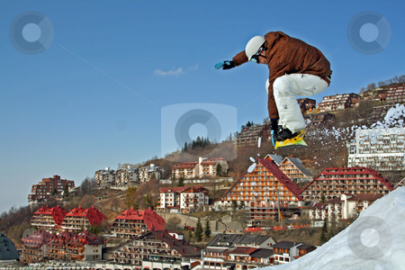 Snowboard stock photo, Snowboard, jump, snow by Andrea Morando