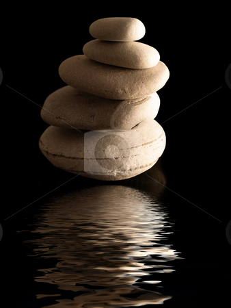 Zen stones reflection stock photo, Zen stones pile  reflecting on water on black background by Laurent Dambies