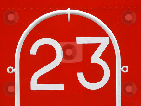 Number 23 stock photo, Number 23 on painted red metallic ship by Laurent Dambies