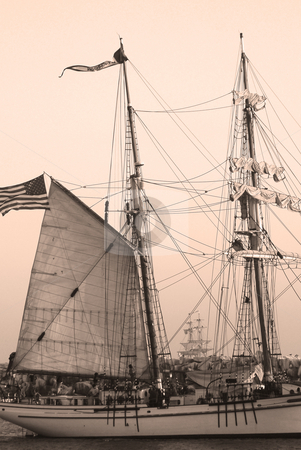 Tall Ship in Sepia stock photo,  by Timothy OLeary