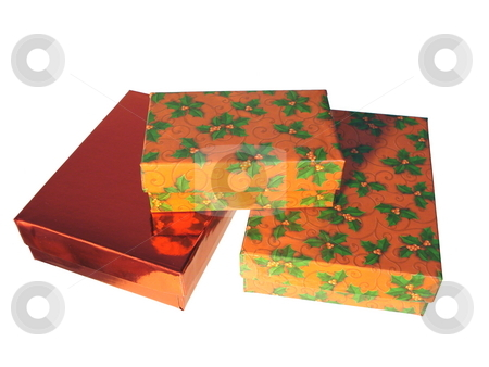 Christmas gift boxes. stock photo, Christmas gift boxes isolated on white background. by Todd Dixon