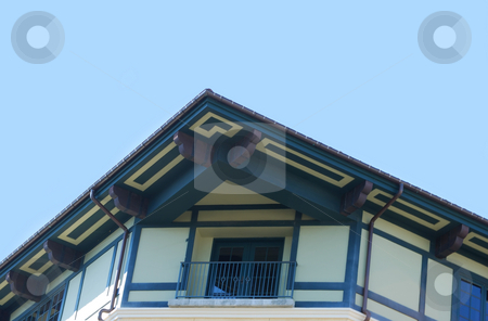 Building Corner With Balcony stock photo, Blue And White Facade Building Corner With Balcony by Denis Radovanovic