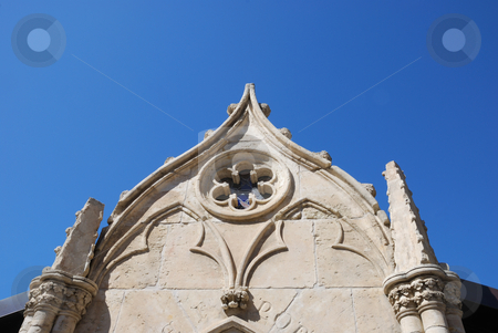 White Chapel Wall Against Blue Sky stock photo, White Chapel Wall Against Blue Sky by Denis Radovanovic