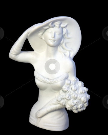 Statuette of elegant woman stock photo, White plaster statuette of elegant woman with flowers by Natalia Macheda