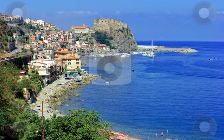 Scilla panorama stock photo, Panoramic view on scilla cost, harbor, town and castle by Natalia Macheda