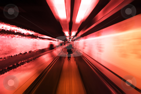 Metro stock photo, Abstract illustration of a tunnel in the subway system of Paris by Heiko Riemann