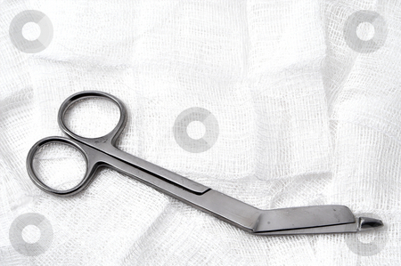 Medical Scissors and Gauze stock photo, Medical Scissors and Gauze ready for emergency use. by Robert Byron