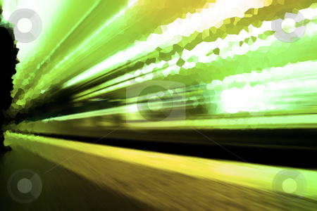 Passing Metro stock photo, Abstract illustration of a subway station in Paris by Heiko Riemann