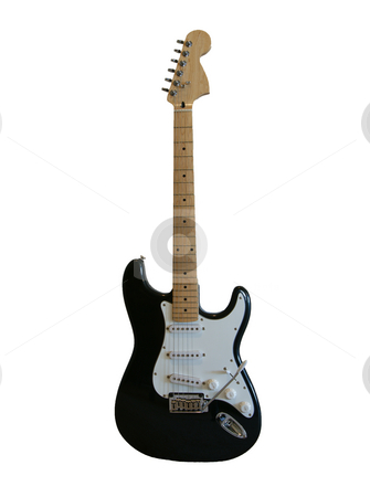 Black Guitar stock photo, A black electric guitar on a white background by Sam Sapp