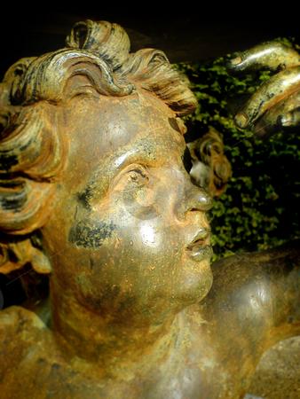 Golden Angel stock photo, Golden angel looking up by Heiko Riemann