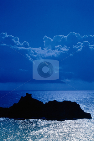MPIXIS250464 stock photo, Silhouetted island in sea by Mpixis World