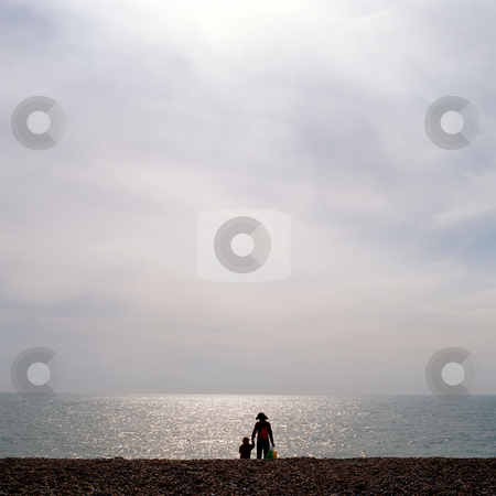 MPIXIS250306 stock photo, Mother and child at beach by Mpixis World