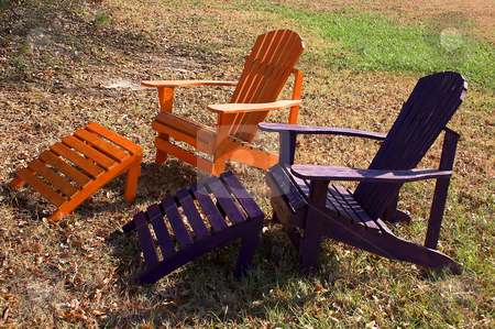 Adirondack Chairs stock photo, A pair of Adirondack Chairs ready for lounging. by Robert Byron