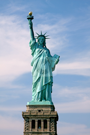 Statue of Liberty stock photo, Statue of Lady Liberty in New York City, gift from France to the United States of America by Paul Hakimata
