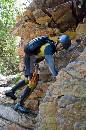 Rock climbed stock photo, Men climbed rock on canyoning pratice by Paulo Resende