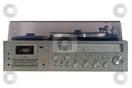 Old durty stereo stock photo, Retro stereo with radio and record player by Paulo Resende