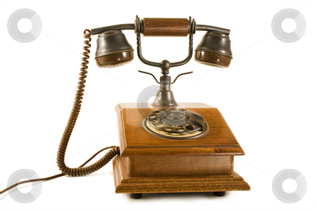 Old wood phone stock photo, Retro old wood phone isolated on white by Paulo Resende
