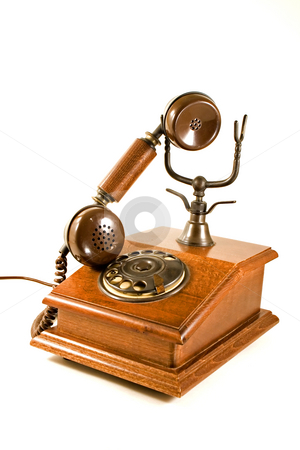 Of the hook stock photo, Retro old wood phone by Paulo Resende