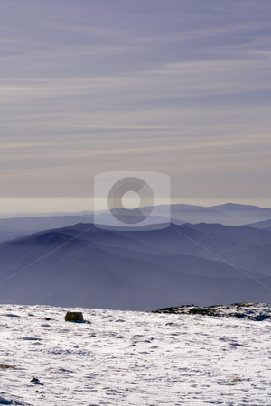 Sunset in the mountain  stock photo, Sunset from one mountain top with snow by Paulo Resende