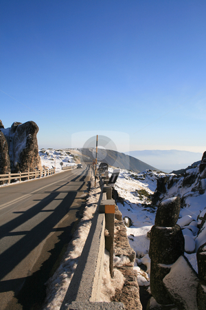 Mountain road stock photo, Road on a snow moutain by Paulo Resende