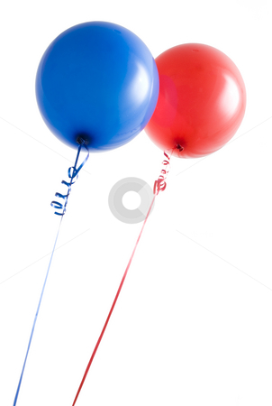 Red and Blue Balloons stock photo, Red and blue balloons from below isolated on white by Mike Dykstra