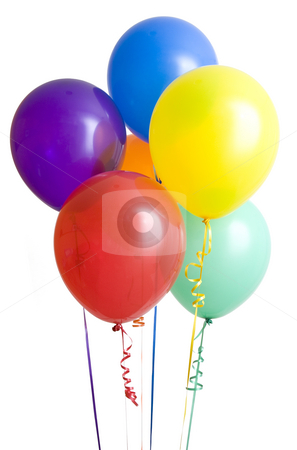 Group of Ballons on White stock photo, Group of colorful balloons isolated on white background by Mike Dykstra