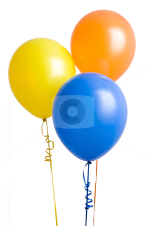 Three Colorful Balloons stock photo, Three colorful balloons isolated on white background by Mike Dykstra