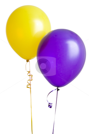 Purple and Yellow Balloon stock photo, Yellow and purple balloons isolated on white background by Mike Dykstra