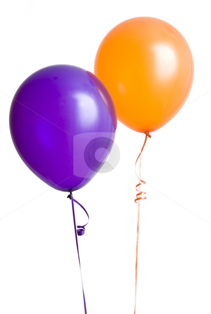 Purple and Orange Balloon stock photo, Purple and orange balloons isolated on white background by Mike Dykstra