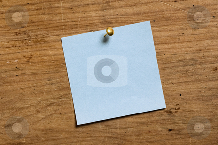 Note with Tack stock photo, Note with Tack on old wooden board. by Pablo Caridad