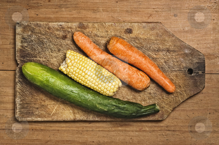 Carrots, corn and cucumber. stock photo, Carrots, corn and cucumber. by Pablo Caridad