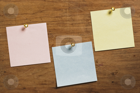 Three Notes with Tack on wooden board stock photo, Three Notes with Tack on wooden board, in three different colors. by Pablo Caridad