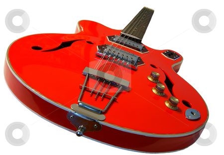 Red guitar stock photo, A red 12 string guitar on na white background by Sam Sapp