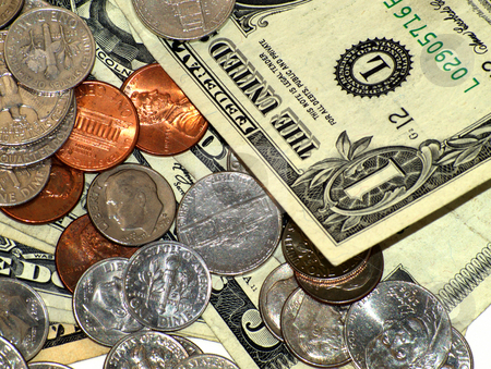 Money Closeup stock photo, Money closeup of bills and coins with one dollar corner predominent by Joseph Ligori