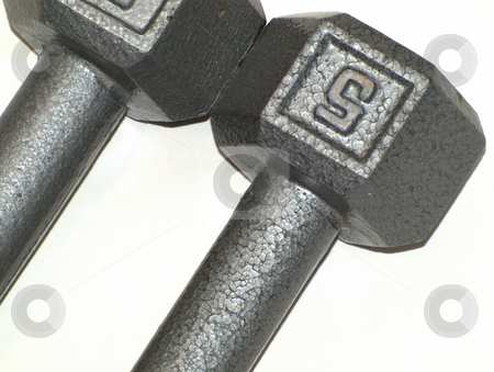 Barbell Closeup stock photo, Closeup of five pound barbells used for exercise and weight training by Joseph Ligori