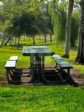 Picnic Table stock photo, Picnic Table in Park by Joseph Ligori