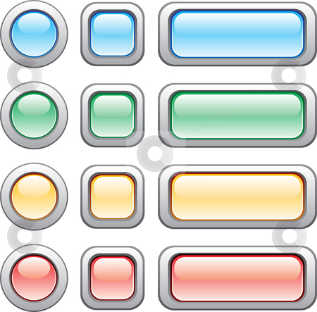 Buttons set stock vector clipart, Different size and colors of modern web buttons by Oxygen64