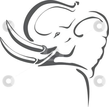 Elephant tattoo stock vector clipart, Gray elephant with big tusks on tribal tattoo by Oxygen64