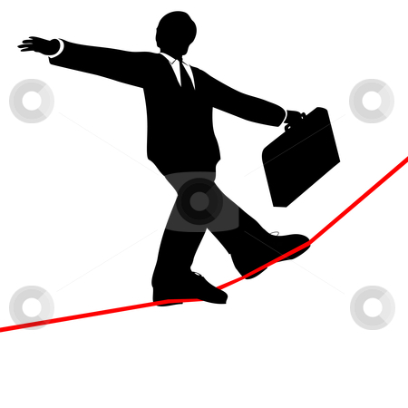 Business man walks risky high tightrope from below stock vector clipart, A business man balances with a briefcase, walks a high wire tightrope, above risk and danger, view from below. by Michael Brown