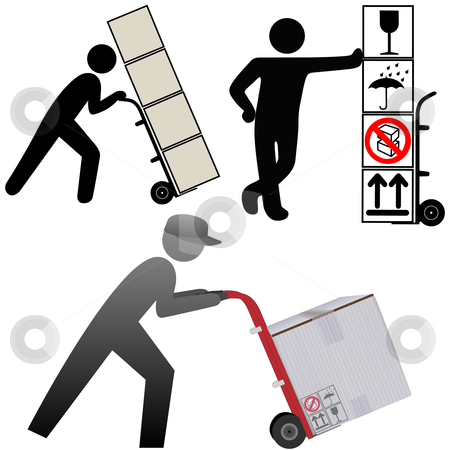 Shipping department icons & elements boxes & people stock vector clipart, Shipping department delivery people deliver packages, cartons, boxes, icons, symbols, & elements on a hand truck. by Michael Brown