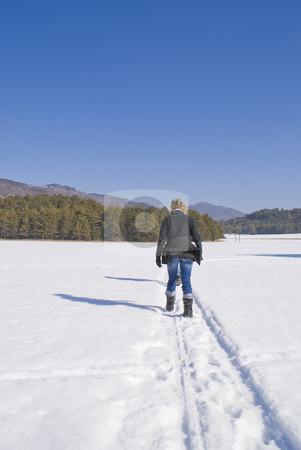 Trekking in the snow stock photo, Trekking in the south of Alps during winter (French Riviera) by Serge VILLA