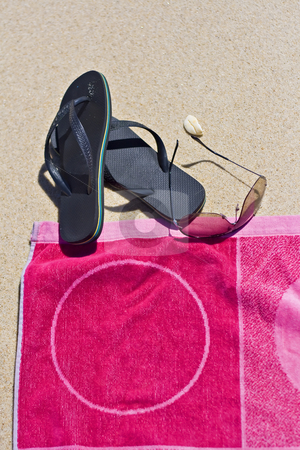 Vacation time stock photo, Some vacation items into the sand by Paulo Resende