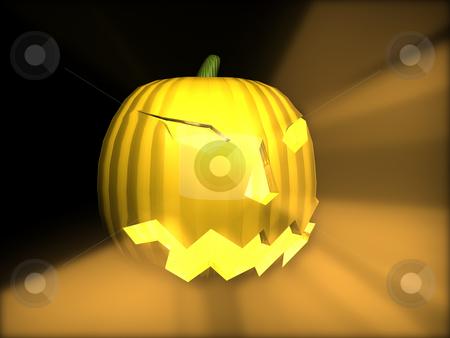3D Pumpkin Lit stock photo, 3D Pumpkin Lit by John Teeter