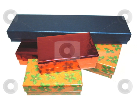 Christmas gift boxes.  stock photo, Stack of Christmas gift boxes isolated on white background. by Todd Dixon